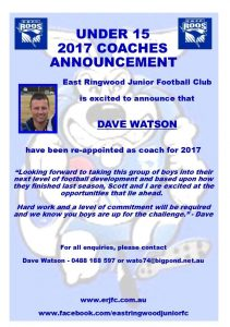 2017 U15 Coach Announcement